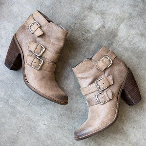 dolce vita tan leather ankle booties